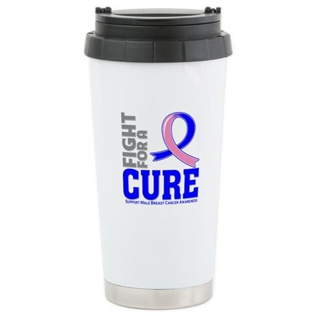Male Breast Cancer Fight Ceramic Travel Mug