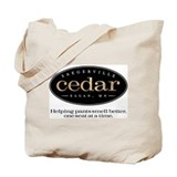 Saegerville Cedar logo and tagline Tote Bag