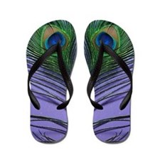 Lavender Peacocks Flip Flops