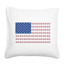 American Flag made of Motorcycles Square Canvas Pi