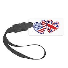 USA and UK Flag Hearts Luggage Tag