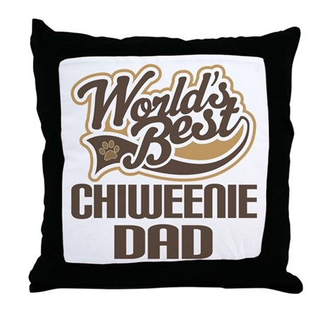 Chiweenie Dog Dad Throw Pillow