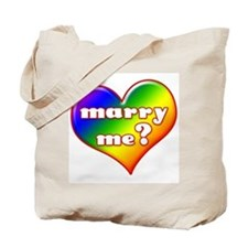 """Marry Me?"" (rainbow) Tote Bag"