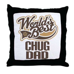 Chug Dog Dad Throw Pillow
