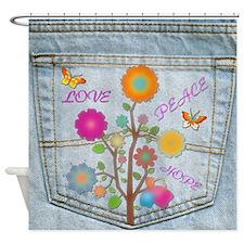 Denim Pocket Peace Love Hope Shower Curtain
