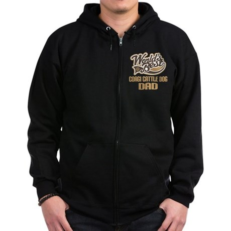 Corgi Cattle Dog Dad Zip Hoodie (dark)