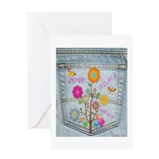 Denim Pocket Peace Love Hope II Greeting Card