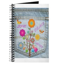 Denim Pocket Peace Love Hope II Journal