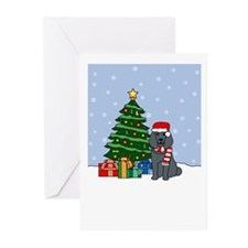 Blue Poodle Christmas Greeting Cards (Pk of 10)