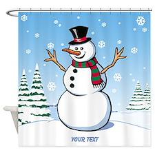 Custom Snowman Shower Curtain