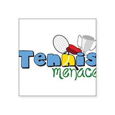 "Tennis Menace Square Sticker 3"" x 3"""