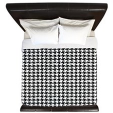 Black and White Houndstooth King Duvet