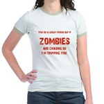 Zombies are chasing us! Jr. Ringer T-Shirt