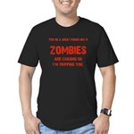 Zombies are chasing us! Men's Fitted T-Shirt (dark