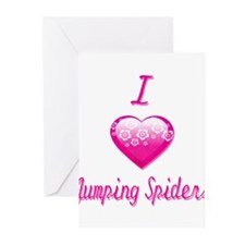 I Love/Heart Jumping Spiders Greeting Cards (Pk of
