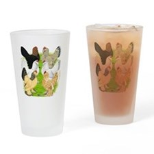 Six DUccle Hens Drinking Glass