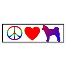 Peace, Love, Akita Bumper Bumper Sticker
