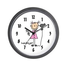 Stick Figure Hairdresser Wall Clock
