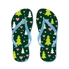 Christmas Trees and Hearts Holiday Flip Flops