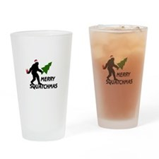Merry Squatchmas Drinking Glass
