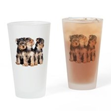 Yorkie Puppies Drinking Glass