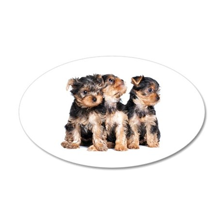 Yorkie Puppies 20x12 Oval Wall Decal