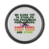 Four Main Food Groups Large Wall Clock