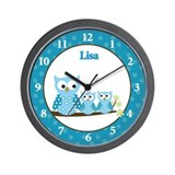Blue Hoot Owls clock - Lisa