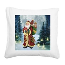Santa Claus In The Forest Square Canvas Pillow