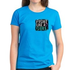 Fight Like a Girl 31.8 Thyroid Cancer Shirts Women