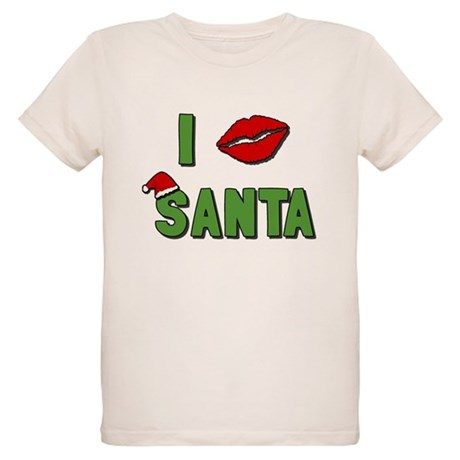 I Kissed Santa Organic Kids T-Shirt