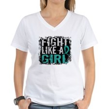 Fight Like a Girl 31.8 Ovarian Cancer Shirt