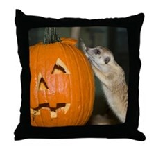 Meerkat On Pumpkin Throw Pillow