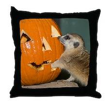 Meerkat Reaching into Pumpkin Throw Pillow