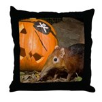 Elephant Shrew With Pumpkin Throw Pillow