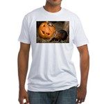 Elephant Shrew With Pumpkin Fitted T-Shirt