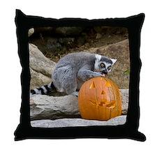 Lemur With Pumpkin Throw Pillow