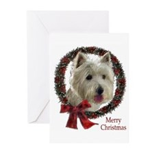 westie wreath Greeting Cards
