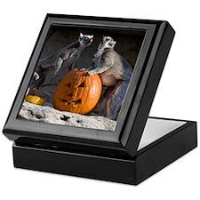 Lemurs With Pumpkin Keepsake Box