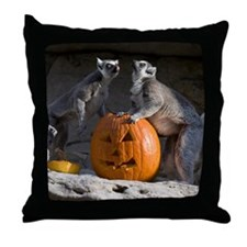 Lemurs With Pumpkin Throw Pillow