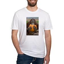 Orangutan with Pumpkin Fitted T-Shirt