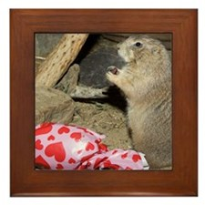 Chipmunk Next to Present Framed Tile