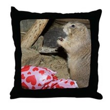 Chipmunk Next to Present Throw Pillow
