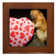 Tamarin With Heart Present Framed Tile