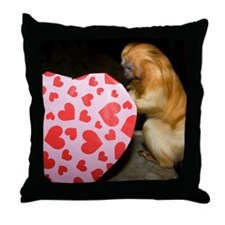 Tamarin With Heart Present Throw Pillow