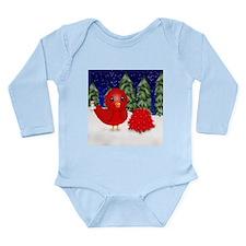 Little Red Bird Poinsettias Long Sleeve Infant Bod