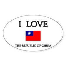 I Love The Republic Of China Oval Decal