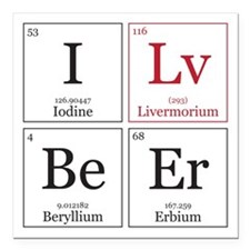 I Lv BeEr [Chemical Elements] Square Car Magnet 3""