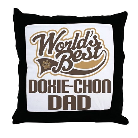 Doxie-Chon Dog Dad Throw Pillow