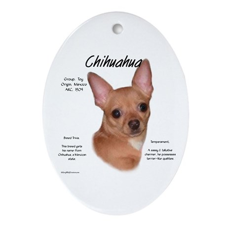 Smooth Chihuahua Oval Ornament